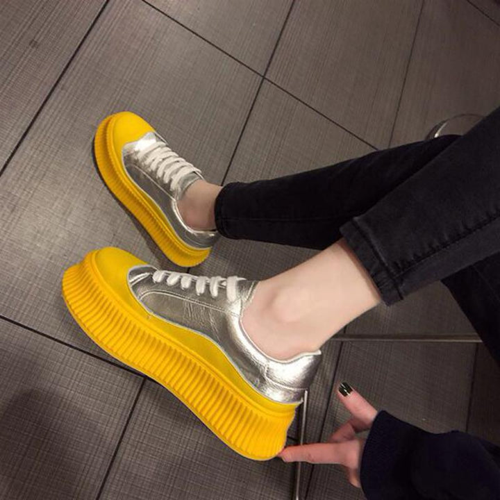 Women's Casual Leather Platform Sneakers