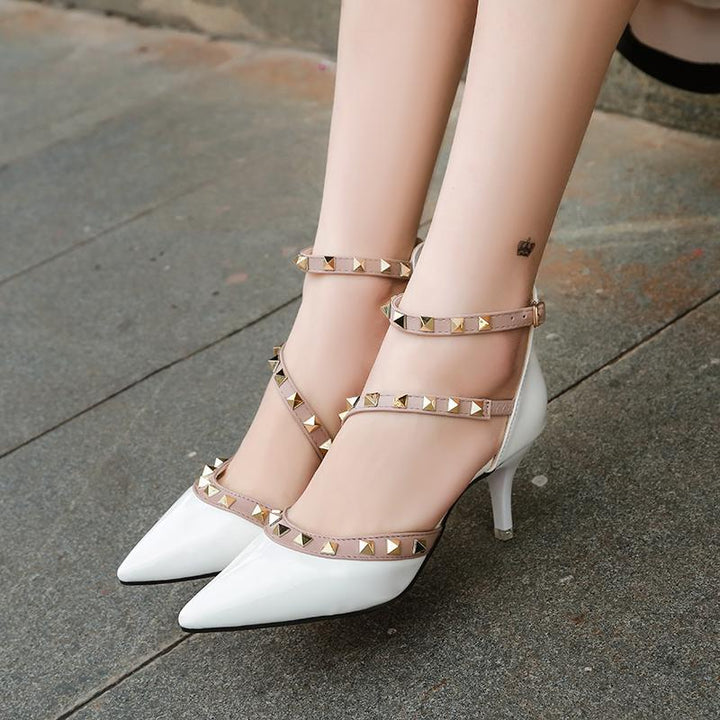 Women's Summer Patent Leather Pointed Shoes With Rivets