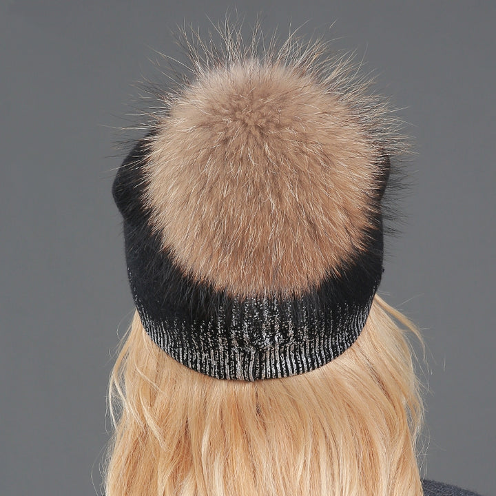 Women's Winter Knitted Wool Warm Hat With Pompom