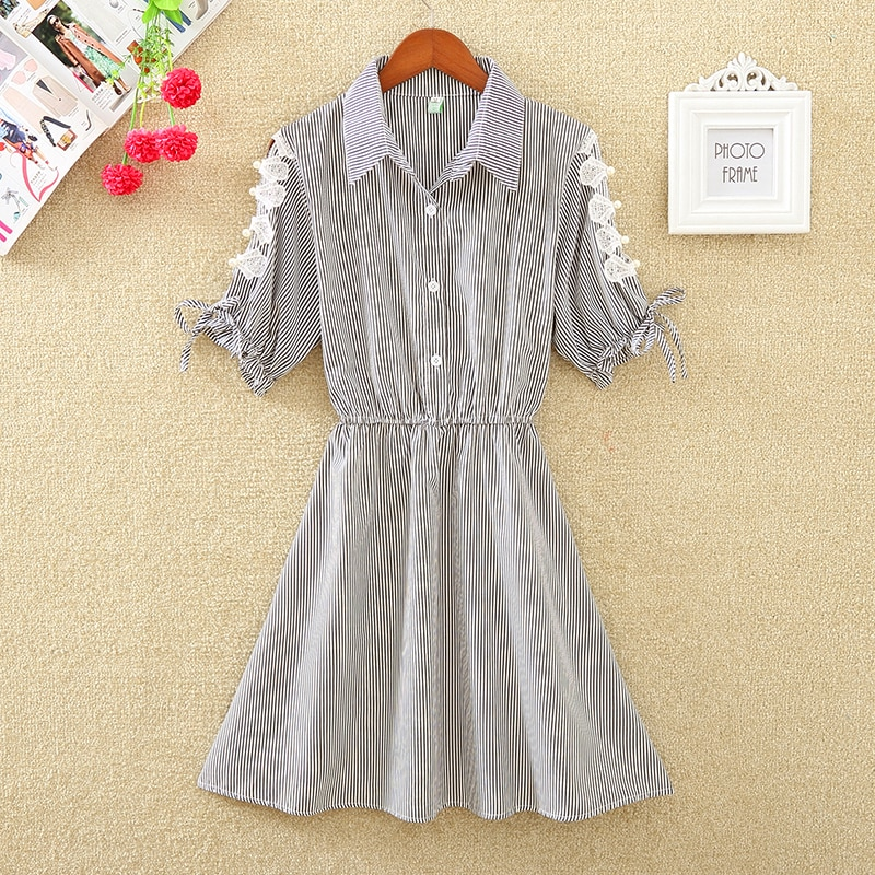Women's Summer Casual A-Line Short-Sleeved High-Waist Dress