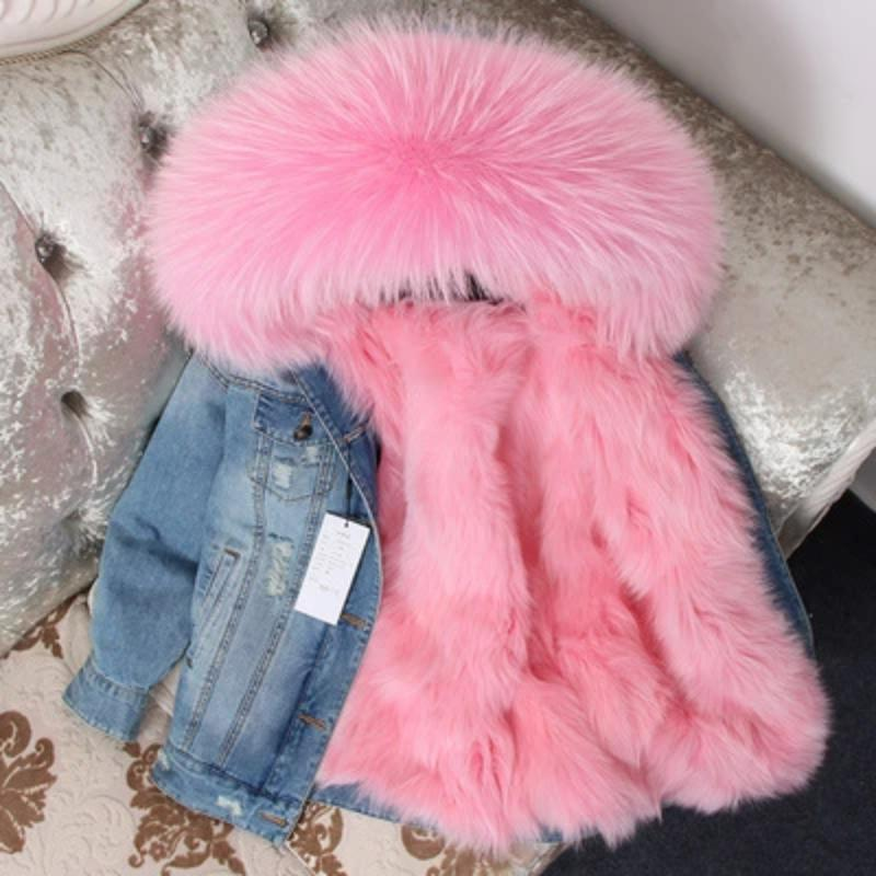 Women's Winter Casual Thick Denim Parka With Raccoon Fur