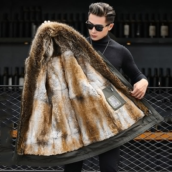 Men's Winter Casual Thick V-Neck Parka With Raccoon Fur