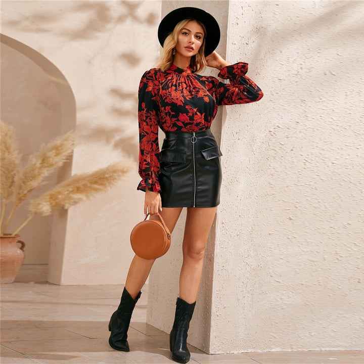 Women's Summer Polyester Long-Sleeved Blouse With Ruffles