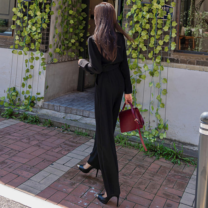 Women's Spring/Autumn Casual Loose Belted Long-Sleeved Jumpsuit