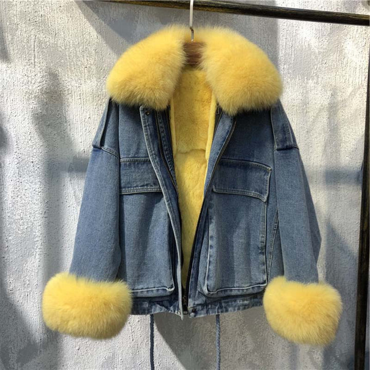 Women's Winter Casual Loose Denim Parka With Fox Fur