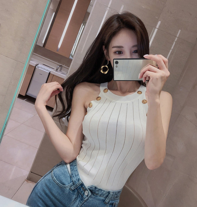 Women's Summer Sleeveles Knitted Sheath Top