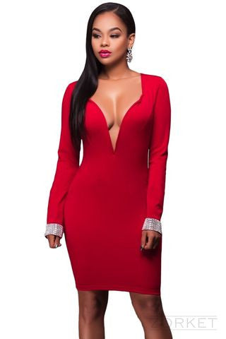 Dress – Beautiful Evening Dress With Deep V-Neck | Zorket