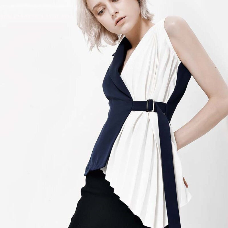Women's Spring Patchwork Blouse With Belt
