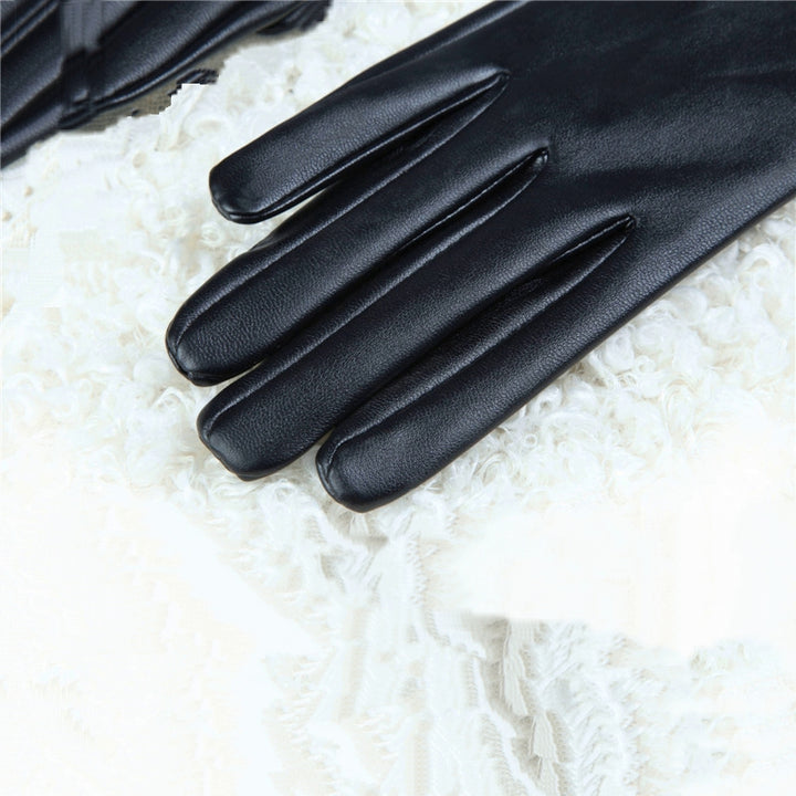 Women's Winter Leather Long Gloves With Bow