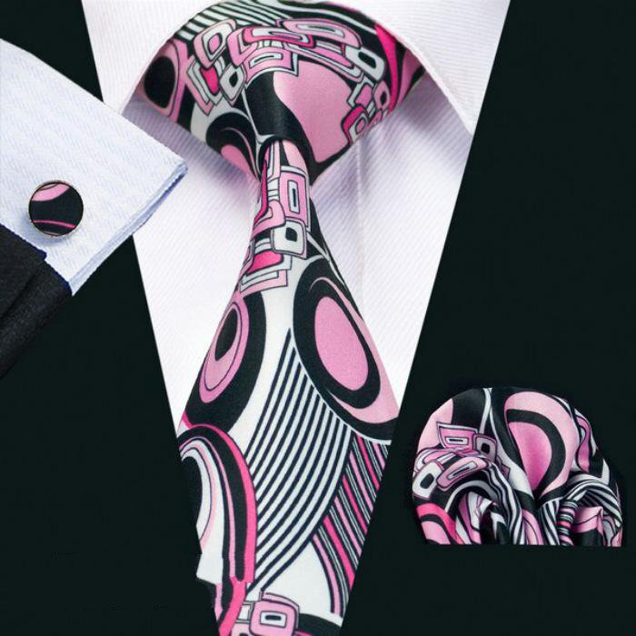 Men's Wedding Tie With Handkerchief & Cufflinks