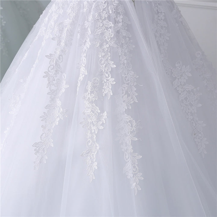 Women's Lace-Up Long Wedding Dress With Appliques