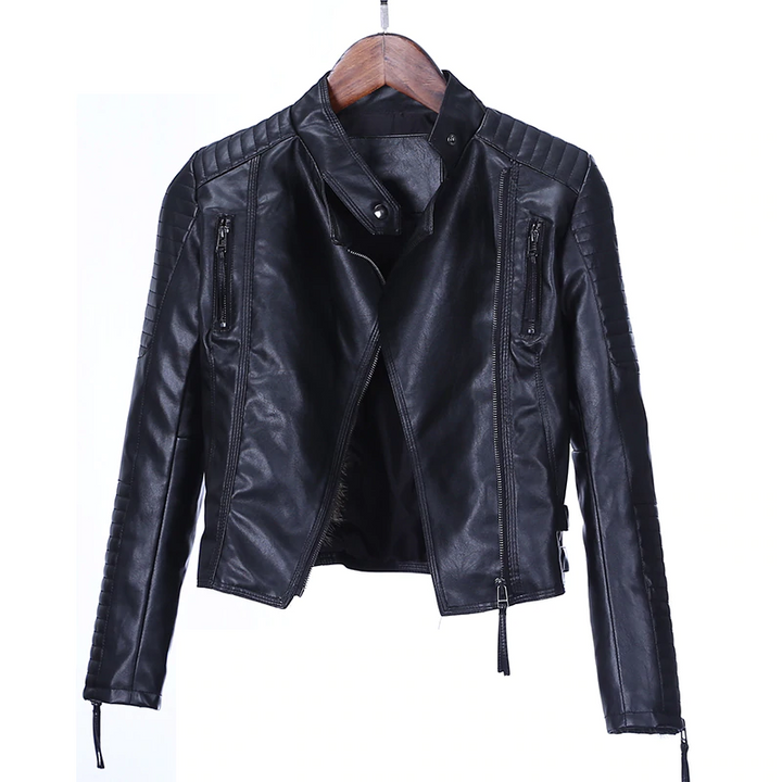 Women's Autumn Casual PU Leather O-Neck Jacket