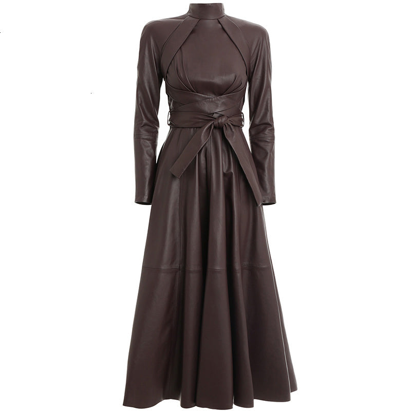Women's Spring PU Leather Lace-Up High-Waist Long Dress