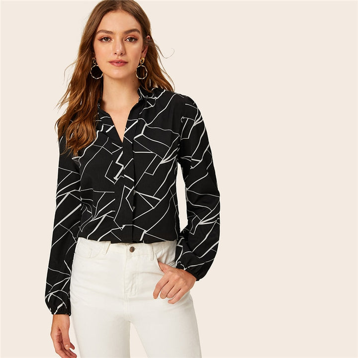 Women's Spring Polyester Long-Sleeved Shirt With Print