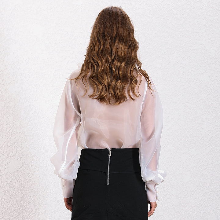 Women's Polyester Lace-Up Blouse With Buttons