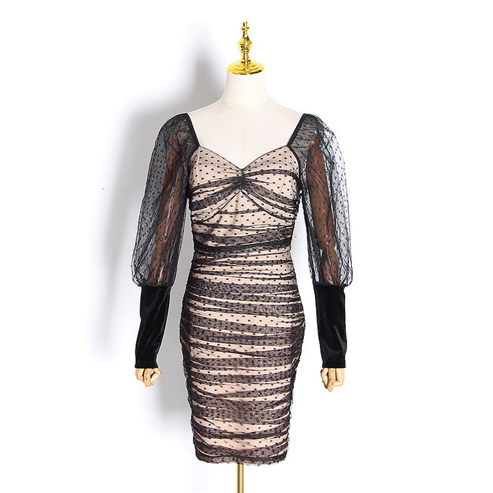 Women's Summer Mesh Long-Sleeved Sheath Dress
