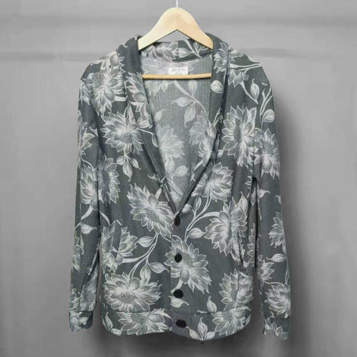 Men's Autumn Thin Blazer With Floral Print
