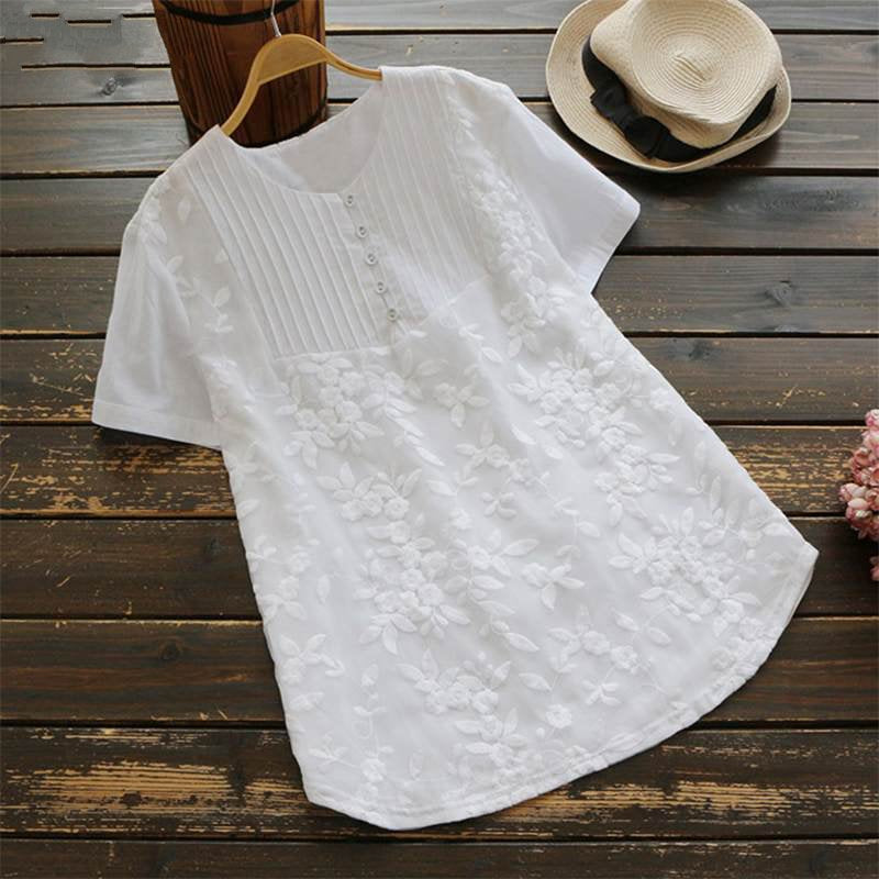 Women's Summer Casual O-Neck Short-Sleeved Loose Blouse
