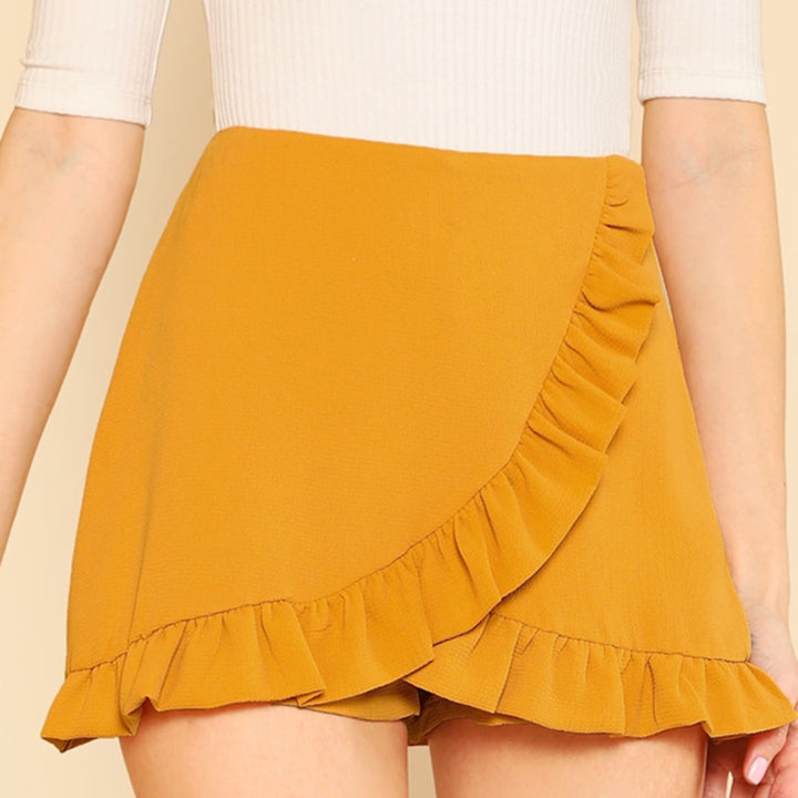 Women's Summer Mid-Waist Skirt Shorts With Ruffles