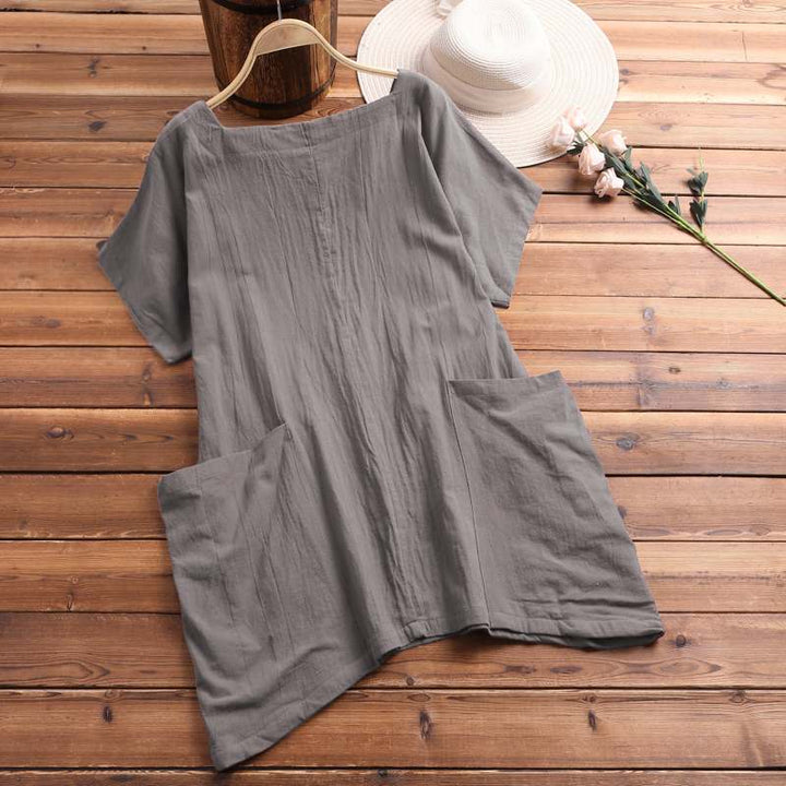 Women's Summer Casual Linen O-Neck Loose Blouse With Pockets