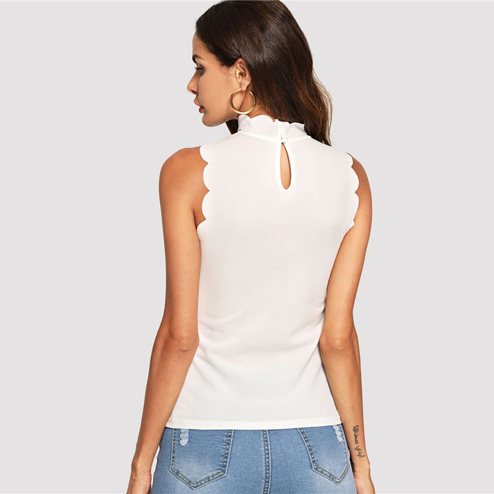 Women's Stretchy Stand Collar Sleeveless Top