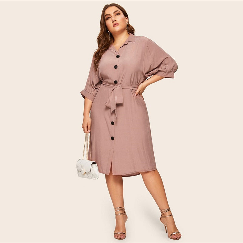 Women\'s Spring Casual Solid Midi Dress | Plus Size
