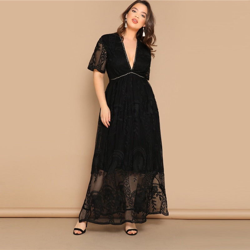 Women's Summer Lace Deep V-Neck Dress | Plus Size