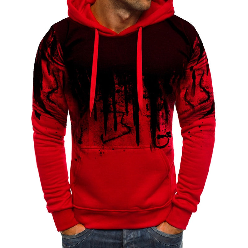 Men's Autumn Casual Hooded Sweatshirt With Print