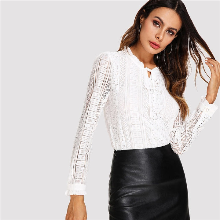 Women's Spring Long Sleeve Lace Blouse