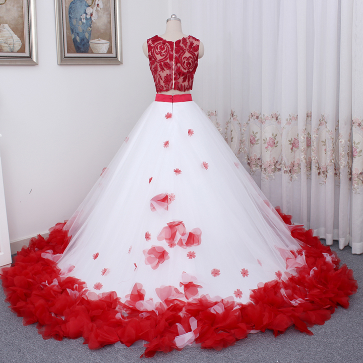 Women's Lace O-Neck Long Wedding Dress With Appliques