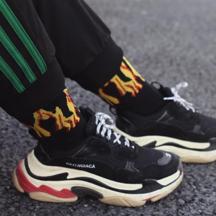 Men's Casual Cotton Socks With Fire Print