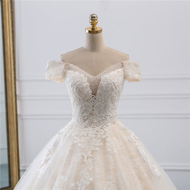 Women's Off-Shoulder Beaded Wedding Dress With Court Train