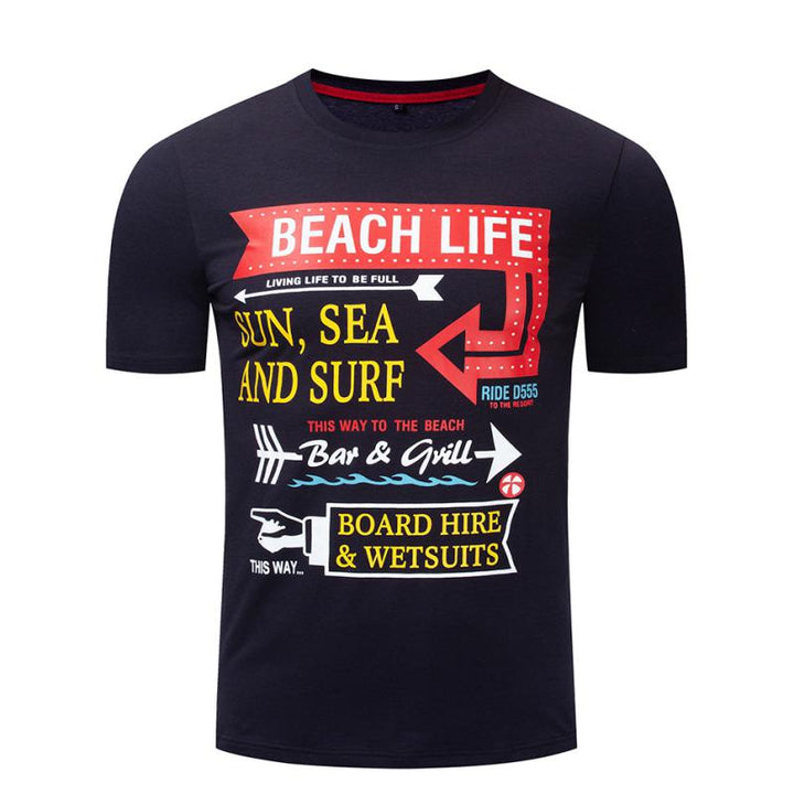 "Men's Summer Casual O-Neck T-Shirt ""Beach Life"""