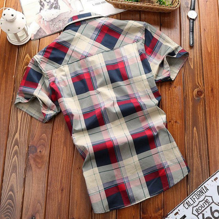 Men's Summer Casual Plaid Short Sleeved Shirt