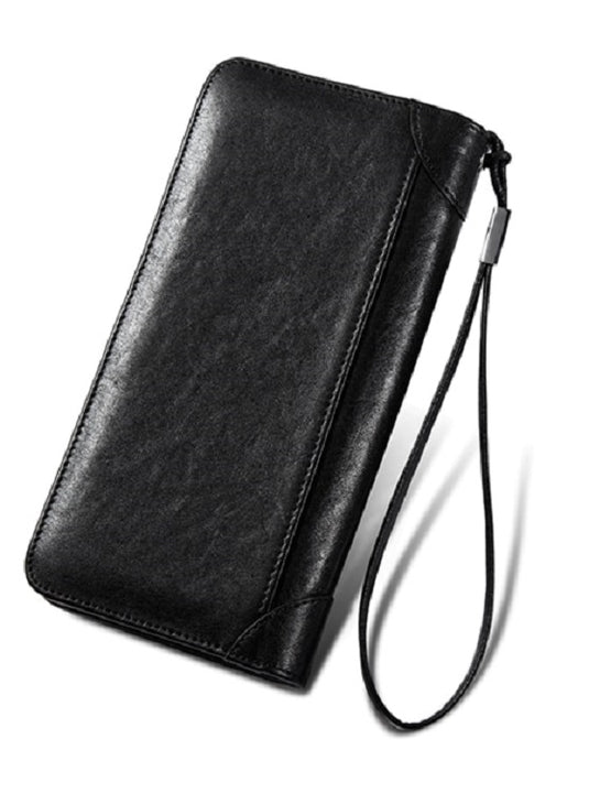 Men's Genuine Leather Long Wallet With Zipper