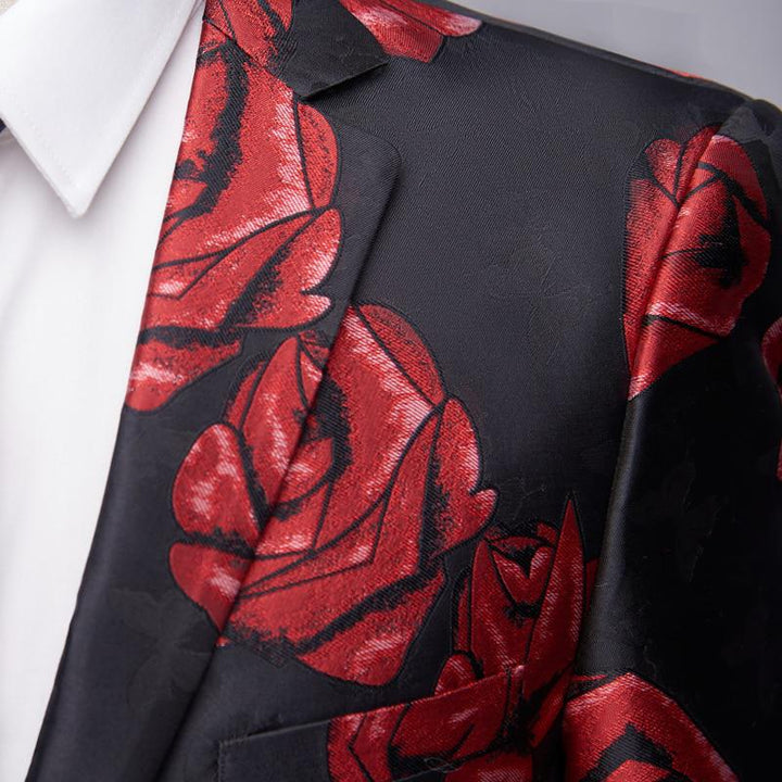 Men's Casual Slim Fit Blazer With Rose Print | Plus Size