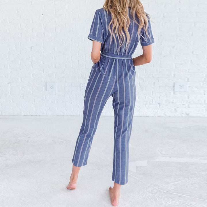 Women's Summer Casual V-Neck Striped Jumpsuit With Belt