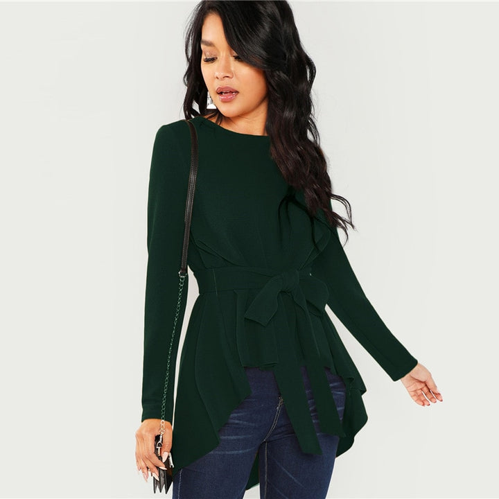 Women's Autumn Long Sleeve Asymmetric Blouse