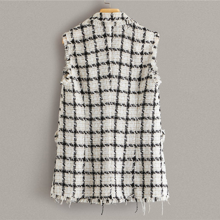 Women's Sleeveless Polyester Vest With Plaid Pattern