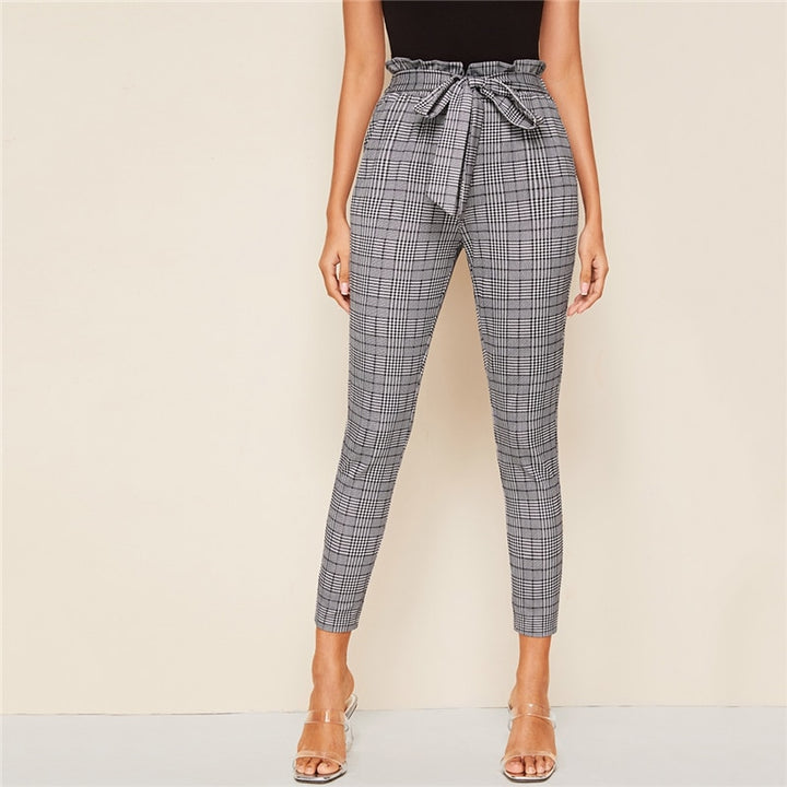 Women's Casual Polyester High-Waist Skinny Pants