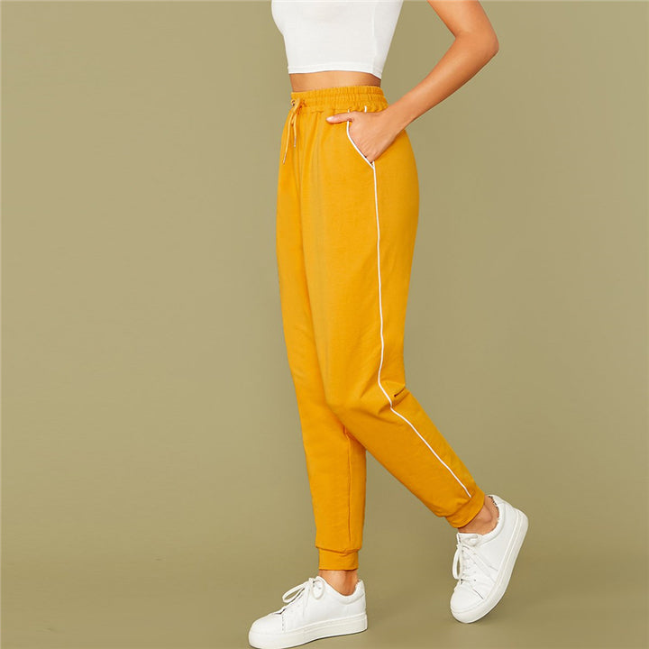 Women's Casual Spandex High-Waist Joggers With Pockets