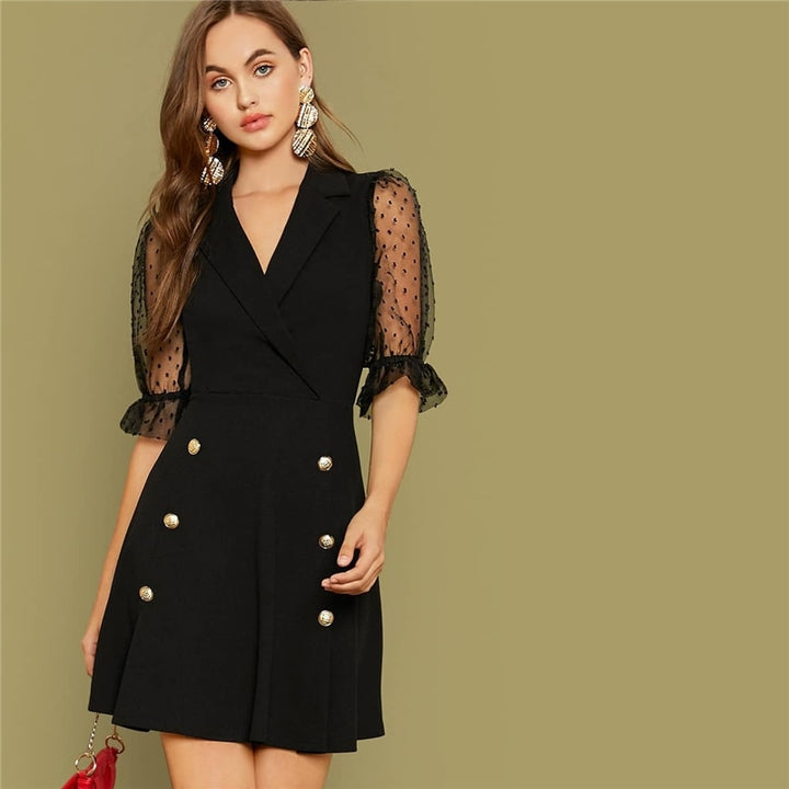 Women's Summer V-Neck Mini Mesh Dress With Buttons