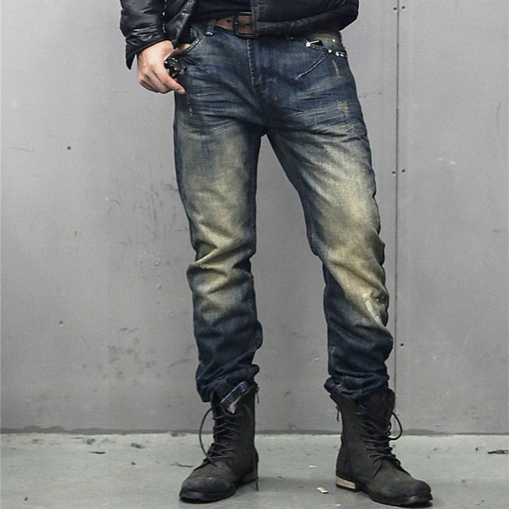Men's Washed Ripped Elastic Jeans