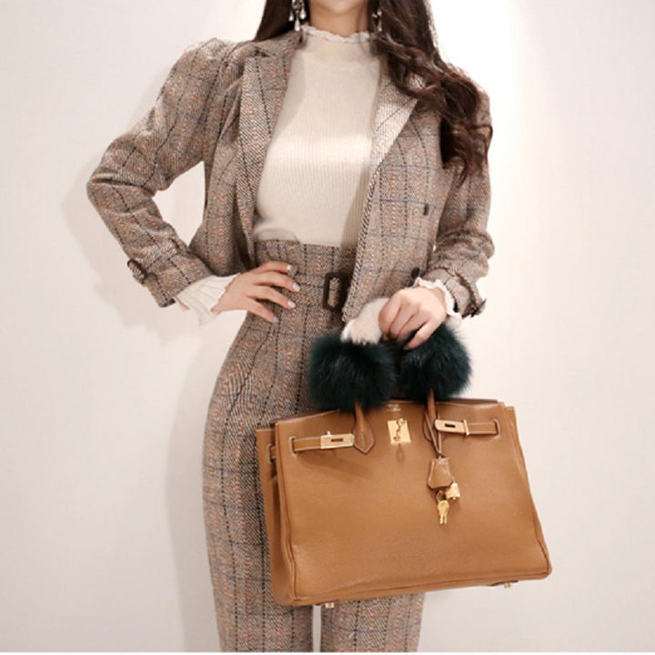 Women's Spring/Autumn High-Waist Wool Two-Piece Suit