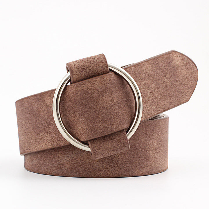 Women's Casual Leather Belt With Round Buckle