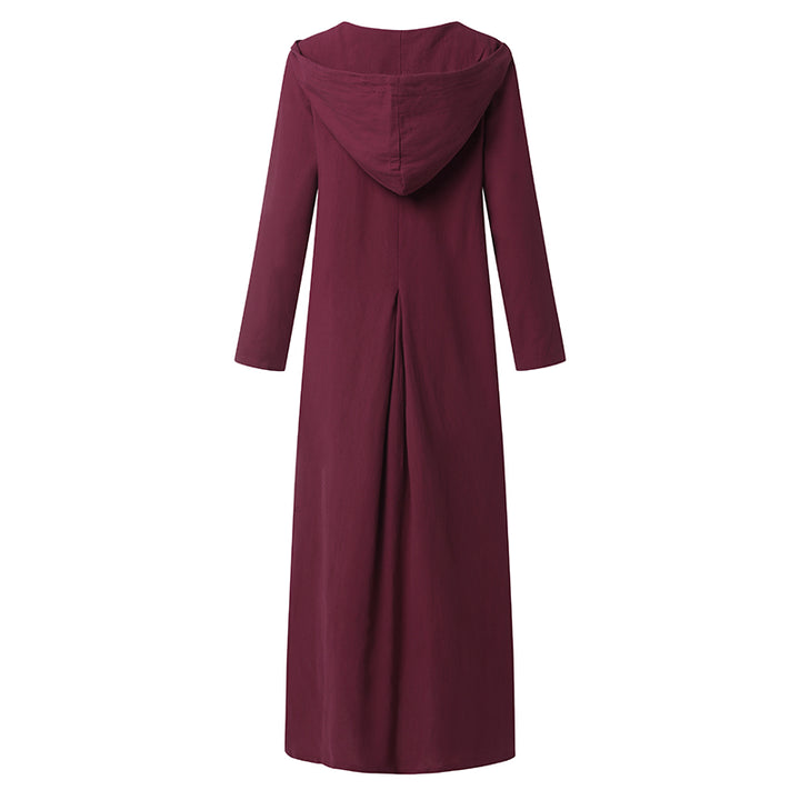 Women's Autumn Casual Linen Hooded Loose Maxi Dress