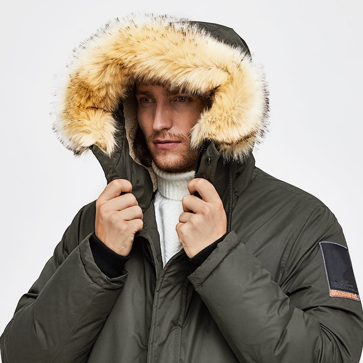 Men's Winter Casual Hooded Warm Polyester Parka
