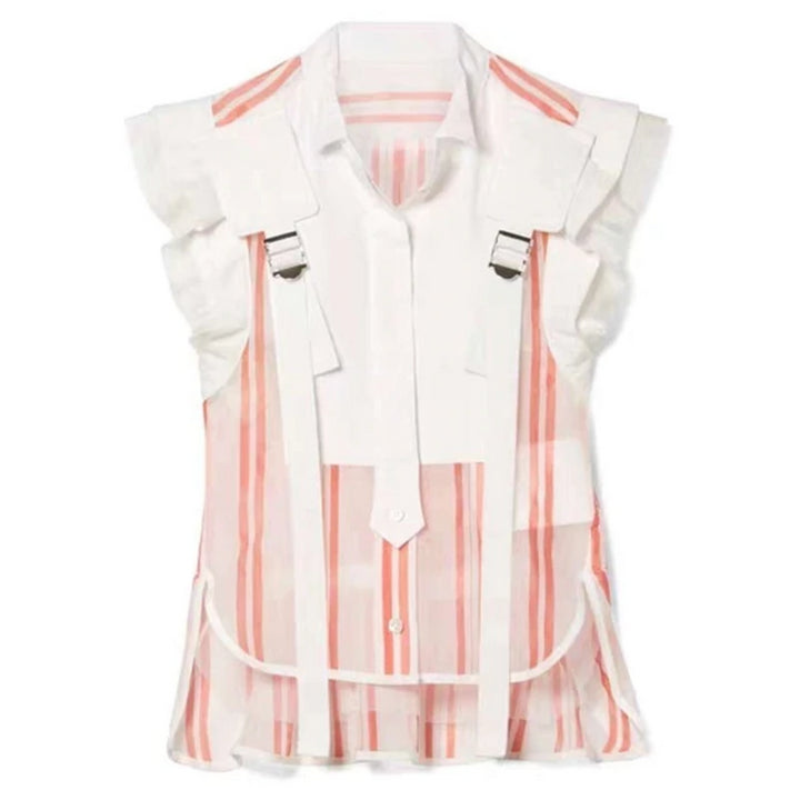 Women's Summer Striped Sleeveless Blouse With Ruffles