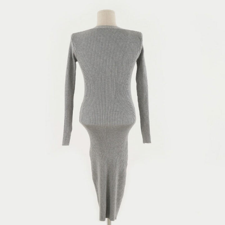 Women's Autumn/Winter Casual V-Neck Sweater Long-Sleeved Dress