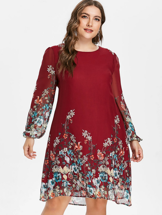 Women's Spring/Summer A-Line O-Neck Floral Dress | Plus Size